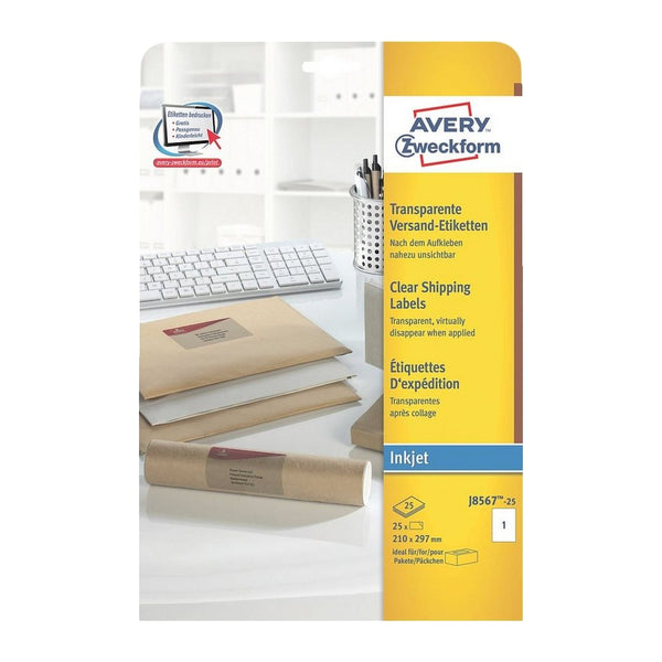 Avery Clear Inkjet Labels 210x297mm J8567-25 (Pack of 25 Labels)