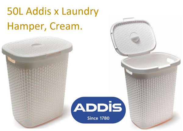 Addis Cream/Linen Rattan Laundry Hamper 50 Litre