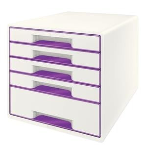 Leitz WOW CUBE Filling Unit 5 A4 Drawers (White/Purple)