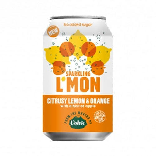 Volvic Sparkling L'mon Citrusy Lemon & Orange Cans 12x330ml