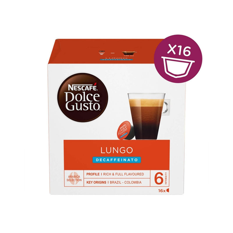 Nescafe Dolce Gusto Lungo Decaffeinated Capsules (Pack of 16) 12219256