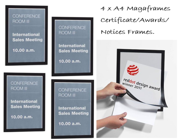 Durable Magnetic Duraframe / A4 / Black / Pack of 4/ Awards / Certificates /