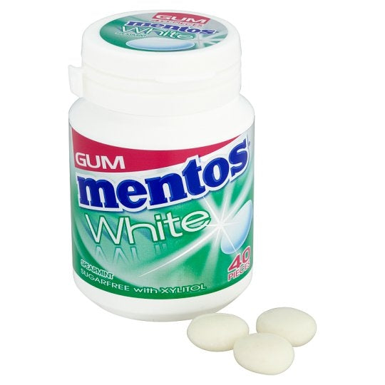 Mentos Gum White Spearmint Bottle 60G {Sugar Free}