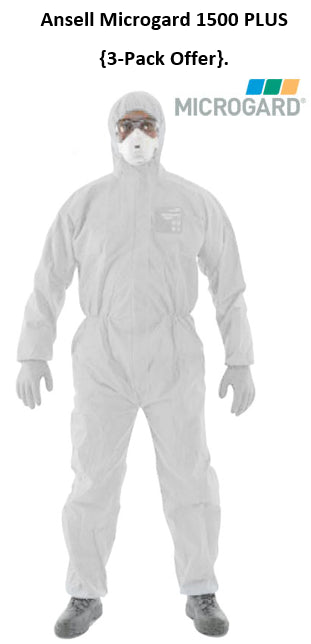 Microgard Disposable Hooded Boilersuit 1500 PLUS in White {All Sizes}
