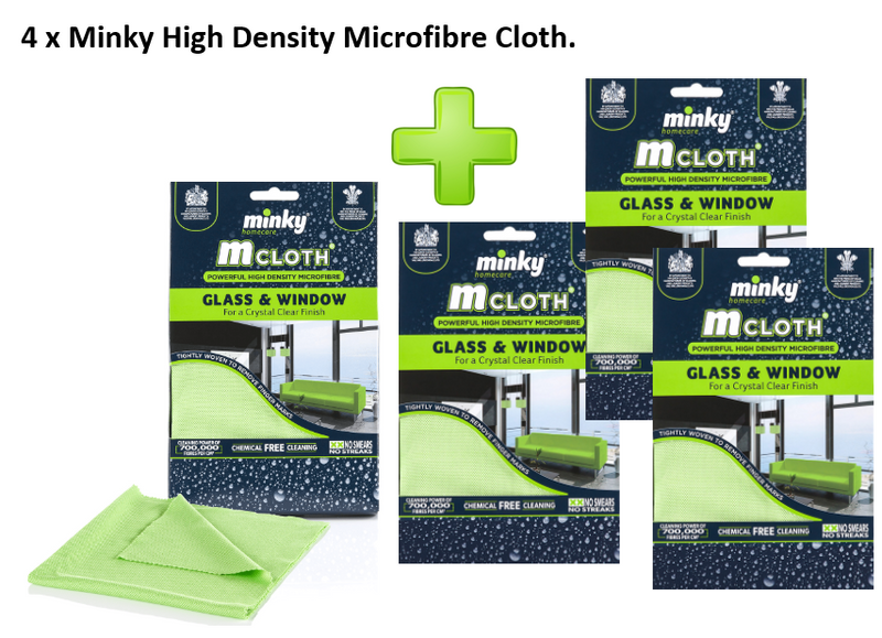 Minky High Density Microfibre M Cloth Glass and Window {4 pack}