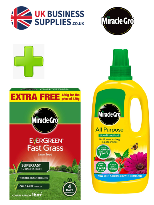 Miracle Gro Fast Grass Seed 480g & 1L Plant Food {Multi Pack}