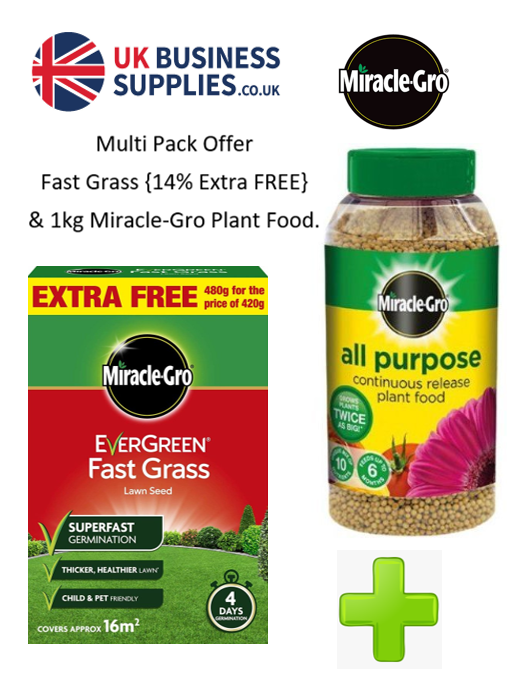 Miracle-Gro {Twin Pack} 480g Fast Grass Seeds & 1kg Plant Food