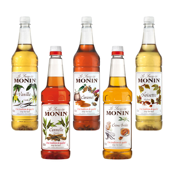 Monin Premium Coffee Syrups (Multi Pack Offer) 4 x 1 Litre Bottles