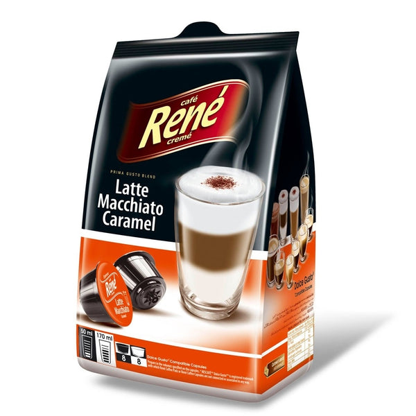 Cafe Rene Latte Macchiato Caramel Dolce Gusto Compatible 16 Pods
