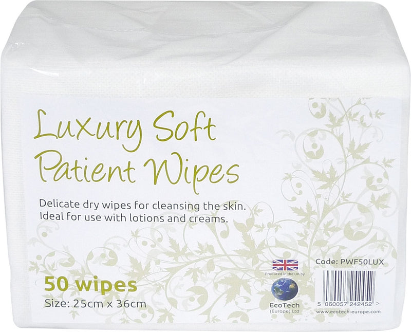EcoTech Soft Dry Patient Cleansing Wipes Luxury 25x36cm 50's