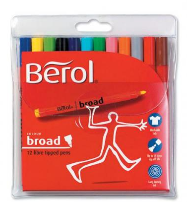 Berol Colour Broad Fibre Tip Pens Assorted (Pack 12)