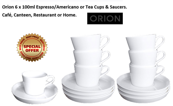 Orion White Tea/Coffee Cup 100ml & Saucer 12.5cm