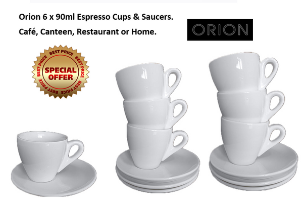 Orion White Tea/Coffee Cup 90ml & Saucer 13.5cm