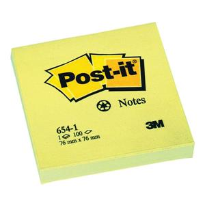 Post-it Sticky Notes Recycled 76x76mm Canary Yellow (Pack of 12 x 100 Sheets)