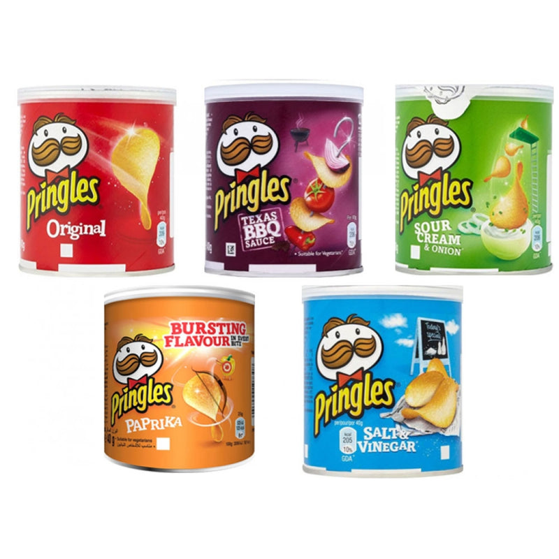 Pringles 5 Case Multi pack 60 Tubs/ 12 each Flavour Multi Pack Saving
