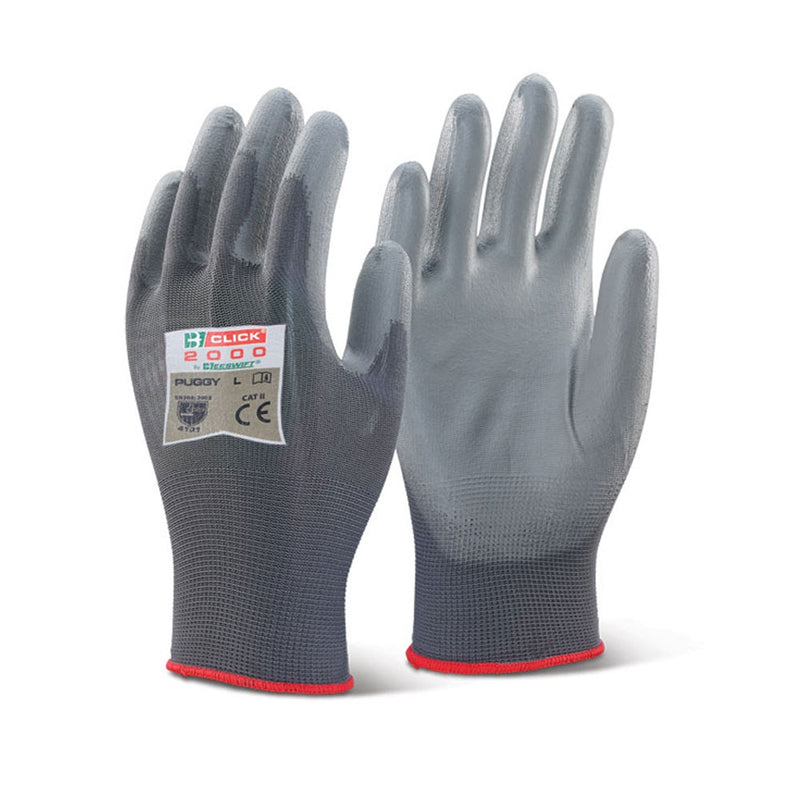 B-Click 2000 Grey Large Nylon Gloves 10's