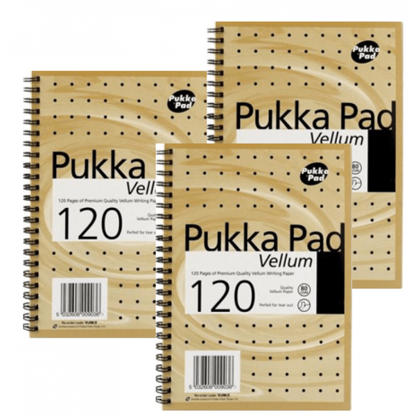 Pukka Pads Notebook Wirebound Perforated Ruled 120pp 80gsm A5 Vellum [Pack 3]