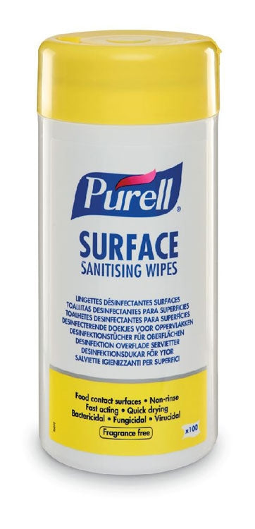 Purell Surface Sanitising Wipes, Food Safe (Pack of 100)