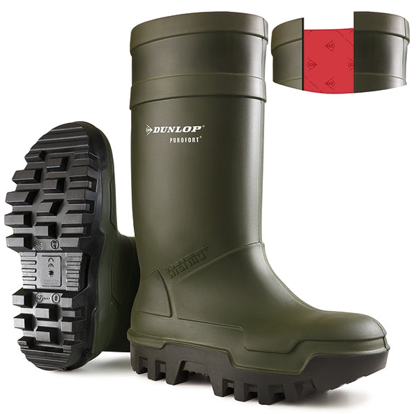 Dunlop Purofort Thermo Safety Wellies GREEN Safe to -50°C {All Sizes}