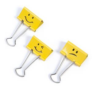 Rapesco (19mm) Assorted Emojis Foldback Clips (Bright Yellow) Pack of 100