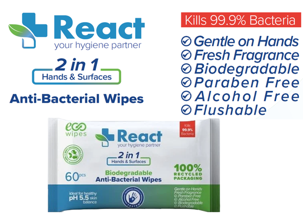 React 2in1 Hand & Surface Antibacterial Wipes 60's