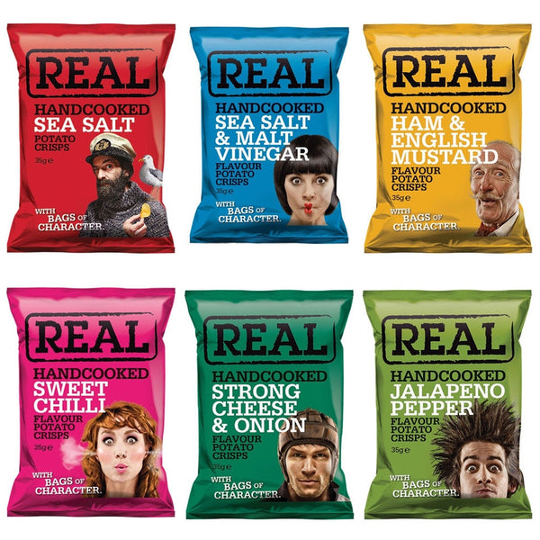 Real Crisps {6 Box Offer} 1 x EACH Flavour 144 Bags JUST £9.83 PER BOX !