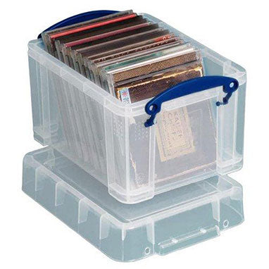 Really Useful 3L Plastic Storage Box With Lid 245x180x160mm Clear 3C {10 Pack}