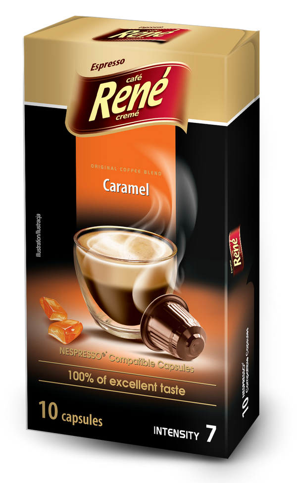 Cafe Rene Caramel Nespresso Compatible 10 Pods (Full Pack 4's)