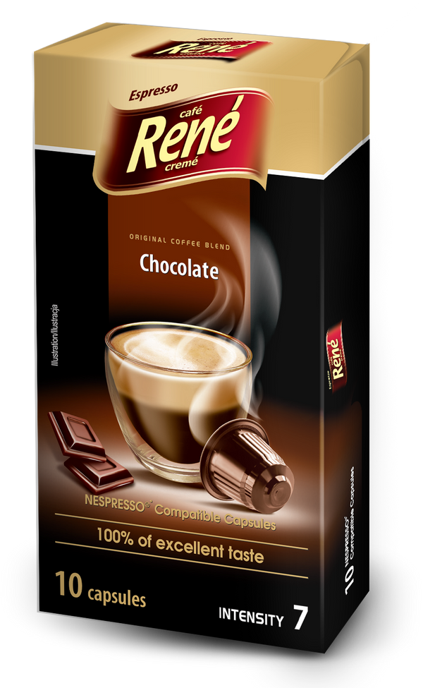 Cafe Rene Chocolate Nespresso Compatible 10 Pods (Full Pack 4's)