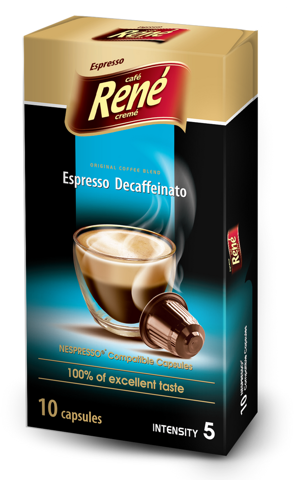 Cafe Rene Espresso Decaffeinato Nespresso Compatible 10 Pods (Full Pack 4's)