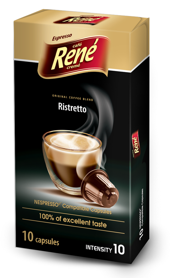 Cafe Rene Ristretto Nespresso Compatible 10 Pods (Full Pack 4's)