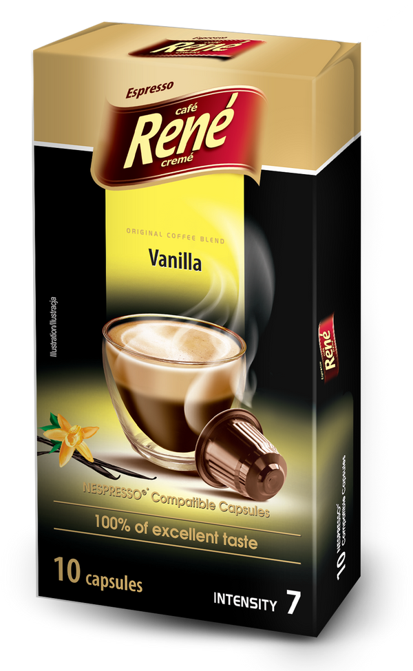 Cafe Rene Vanilla Nespresso Compatible 10 Pods (Full Pack 4's)