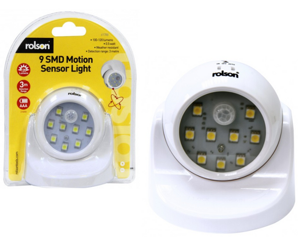 Rolson 61788 Nine Surface Mounted Diode Motion Sensor Light