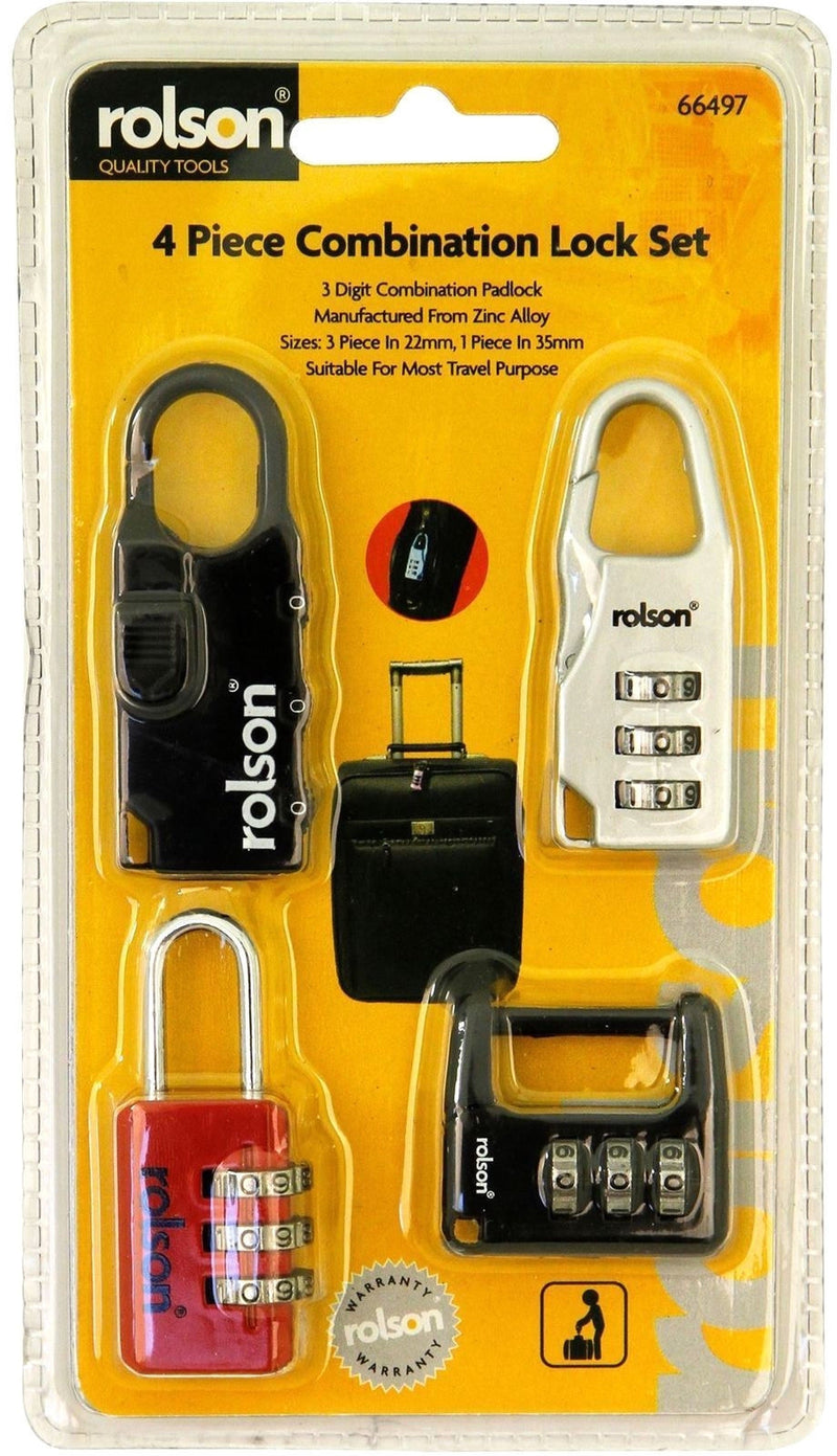 Rolson Piece Combination Lock Set - Pack of 4