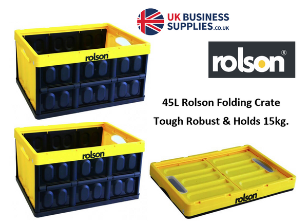 Rolson Black & Yellow Folding Crate 45 Litre