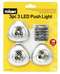 Rolson 3 Piece 3 LED Push On Lights With Batteries
