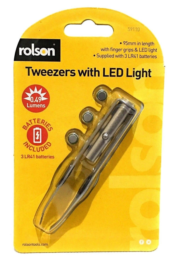 Rolson Quality Tweezers with Led Light Easy Grip Heavy Duty - Battery Included