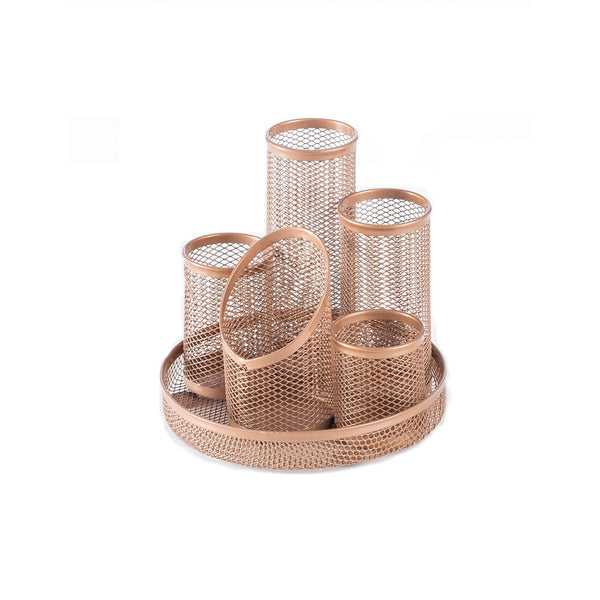 Osco Rose Gold  Mesh 5 Pen Pot Tidy
