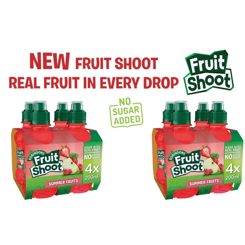 Robinsons Fruit Shoots Summer Fruits Flavoured Juice Drink 4 x 200ml *NO ADDED SUGAR*