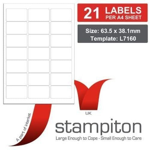 Stampiton (63.5 x 38.1mm) Multi Purpose Laser Labels (21 Labels per Sheet) Pack of 100