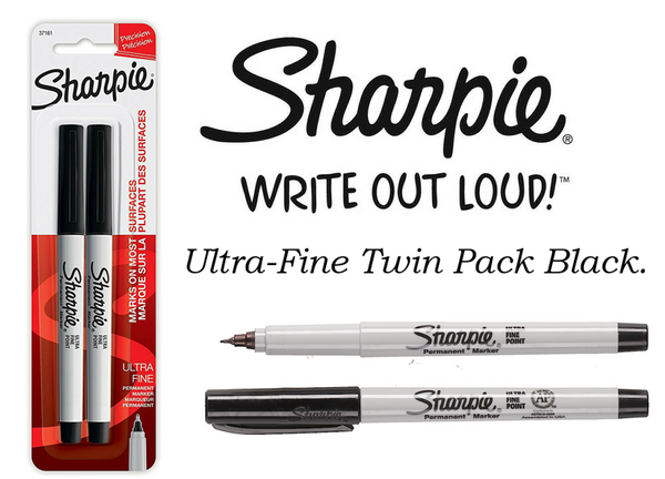 Sharpie Black Permanent Marker Ultra Fine Pack 2's
