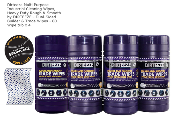 Dirteeze Trade Rough & Smooth Beaded Wipes Tub 4 x 80s