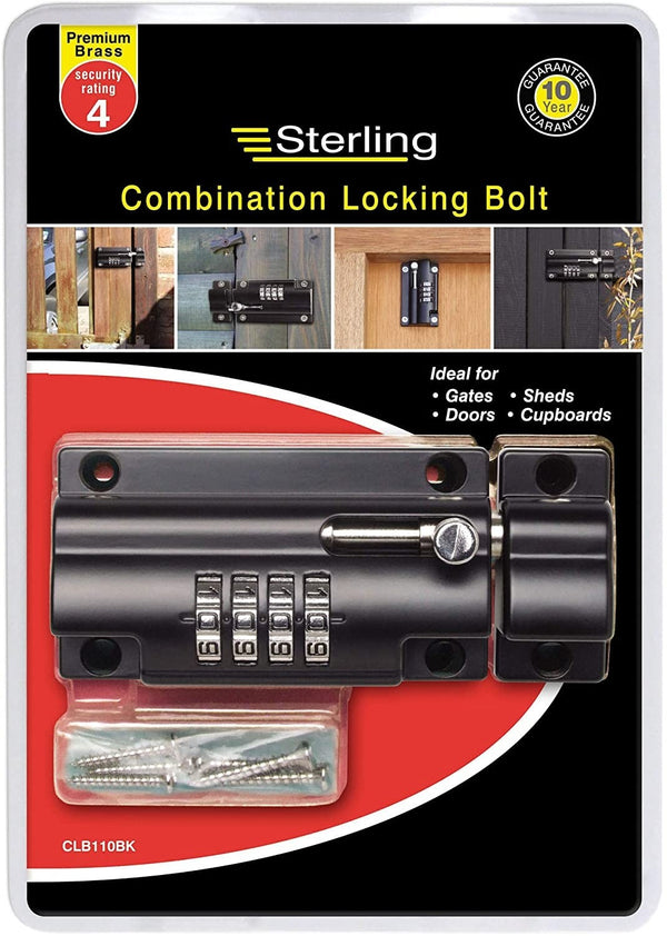 Sterling CLB110BK 110mm 4 Combination Locking Bolt
