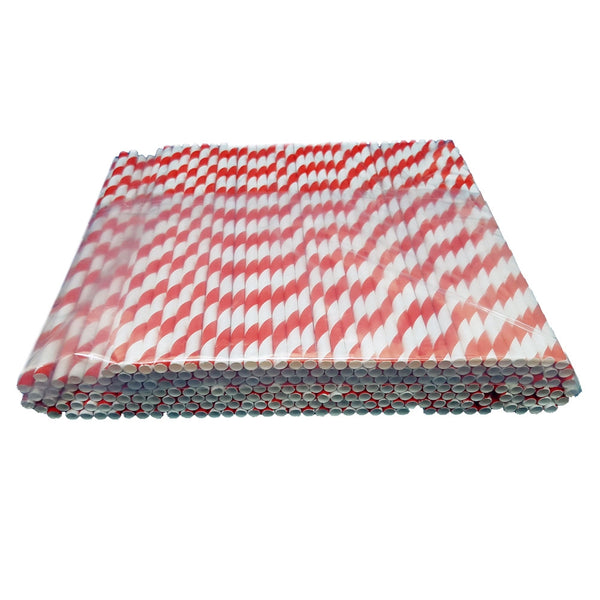 Red & White Paper Stripey Straws Pack 500's