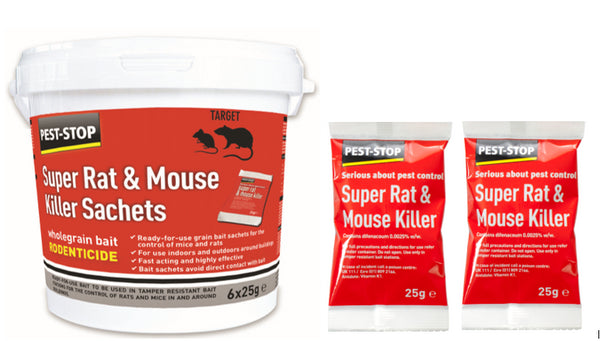 Pest-Stop Super Mouse and Rat Killer Fast Poison Wholegrain Bait 6 x 25g Sachets