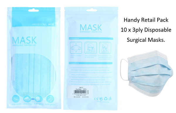 Disposable Surgical/Face 3 Ply Mask Retail 20-Pack