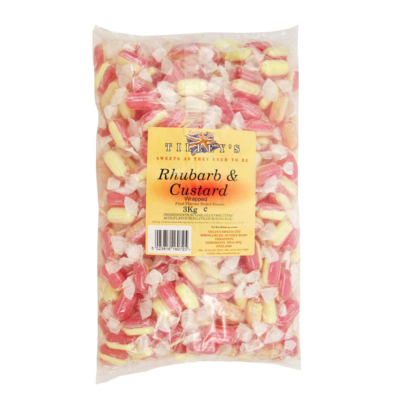 Tilleys Rhubarb & Custard Individually Wrapped Sweets 3kg Bag