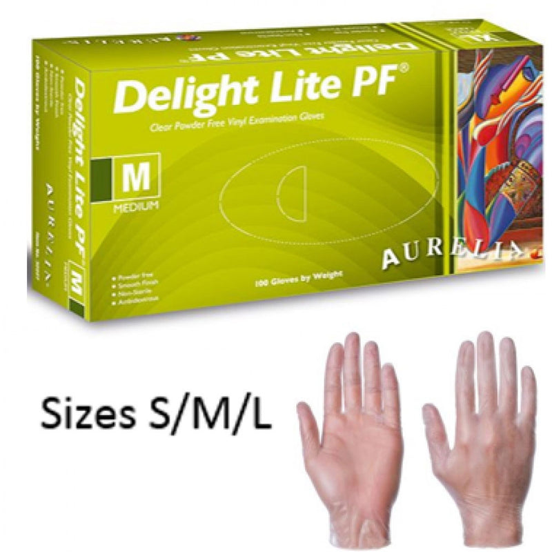"Delight Lite PF ""Powder Free"" Clear Vinyl Gloves x 100 LARGE {32228}"