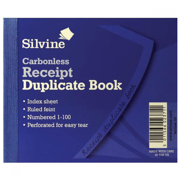 Silvine 4x5inches Duplicate Receipt Book 21505SC (12 Pack)