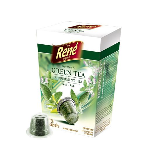 Cafe Rene Green & Peppermint Tea 10's (Nespresso Compatible Pods)